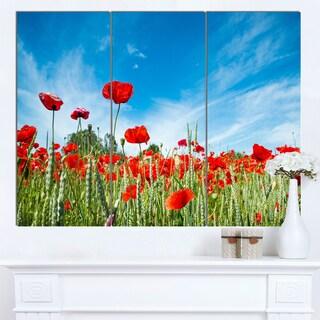 Designart 'Red Poppy Garden under Clear Sky' Flower Canvas Print Artwork