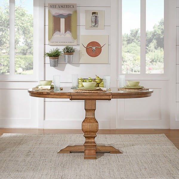 Eleanor Two Tone Oval Solid Wood Top Extending Dining