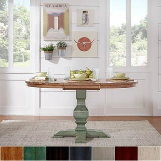 Eleanor Two-tone Oval Solid Wood Top Extending Dining Table by iNSPIRE Q Classic (More options available)