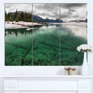 Designart 'Crystal Clear Lake and Mountains' Extra Large Landscape Art Canvas