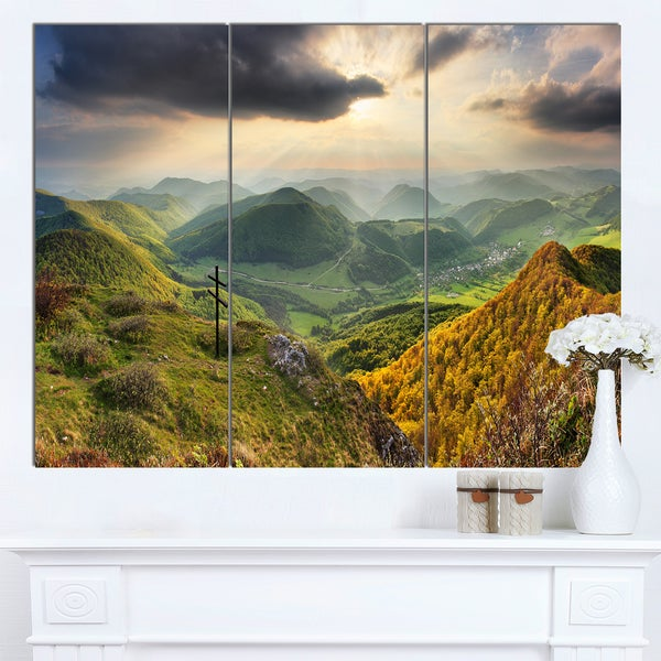 Designart 'Slovakia Spring Forest Mountain' Large Landscape Art Canvas Print