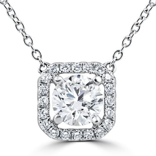 18K White Gold 1.32Ct Round Cushion Halo Diamond Clarity Enhanced Pendant (G-H,VS1-VS2)