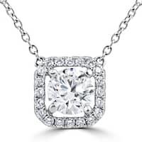 18K White Gold 1.32Ct Round Cushion Halo Diamond Clarity Enhanced Pendant (G-H,VS1-VS2)