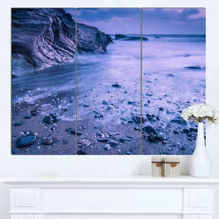 Designart 'Calm Time Lapse on Beach at Sunset' Large Seashore Canvas Wall Art