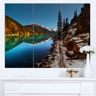 Designart 'Blue Clear Lake with Mountains' Extra Large Landscape Art Canvas