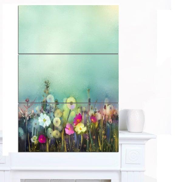 Designart 'Dandelion Poppy and Daisy Flowers' Flower Canvas Print Artwork