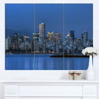 Designart 'Vancouver Downtown in Evening' Extra Large Cityscape Wall Art on Canvas