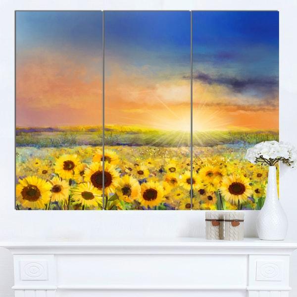 Designart 'Sunset over Golden Sunflower Field' Flower Canvas Print Artwork - GOLD