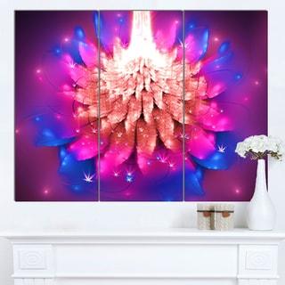 Designart 'Bright Pink Fractal Flower on Blue' Flower Canvas Print Artwork