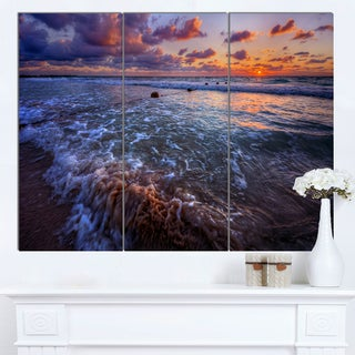 Designart 'Cloudy Sky and Stormy Waves' Seashore Art Print on Canvas