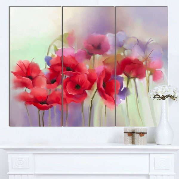 Shop designart watercolor red poppy flowers painting large floral designart x27watercolor red poppy flowers paintingx27 large floral canvas mightylinksfo