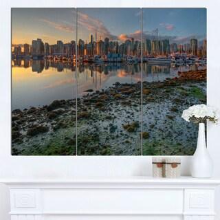 Designart 'Beautiful Sunrise at Vancouver Downtown' Seashore Art Print on Canvas