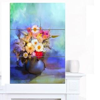 Designart 'Beautiful Flowers Bouquet on Blue' Large Floral Canvas Artwork