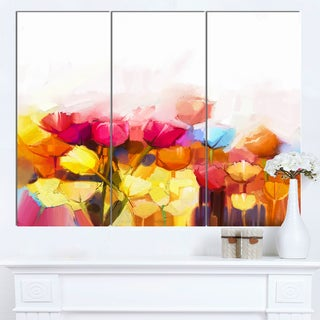 Designart 'Yellow Pink Red Tulips on White' Large Floral Canvas Artwork