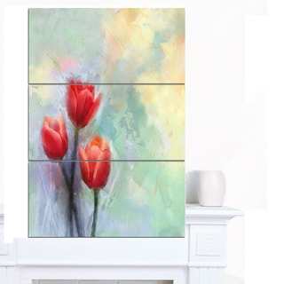 Designart 'Red Tulips on Light Blue Watercolor' Large Floral Canvas Artwork