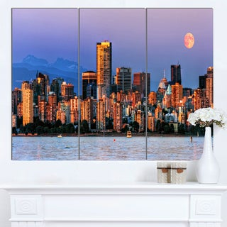 Designart 'Vancouver Downtown Skyscrapers' Extra Large Cityscape Wall Art on Canvas