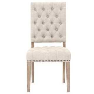 Grey Manor York Bisque French Linen Dining Chairs (Set of 2)