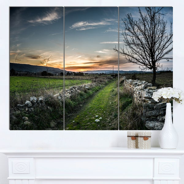 Designart 'Rocky Fences in Green Grassland' Extra Large Landscape Art Canvas