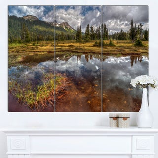 Designart 'Shallow Lake under Cloudy Sky' Extra Large Landscape Art Canvas