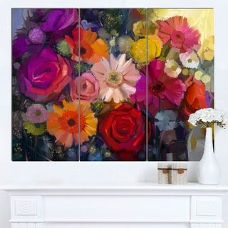 Designart 'Bouquet of Rose Daisy and Gerbera' Large Floral Canvas Artwork