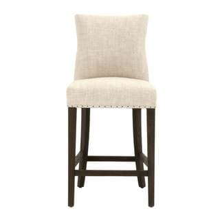 Grey Manor Floyd Brown Wood and Bisque Fabric Counter Stool