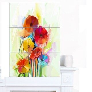 Designart 'Yellow and Red Gerbera Flowers' Large Floral Canvas Artwork