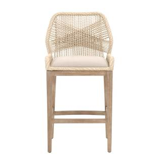 Grey Manor Curtis Sand Mahogany, Fabric Barstool