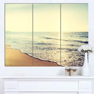 Designart 'Bright Seashore during Sunset' Seashore Art Print on Canvas