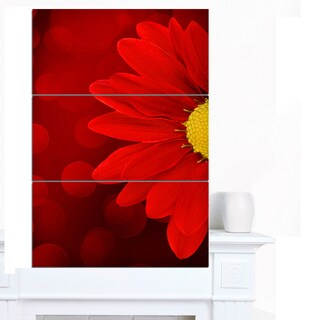 Designart 'Red Flower with Lit-up Background' Large Floral Canvas Artwork