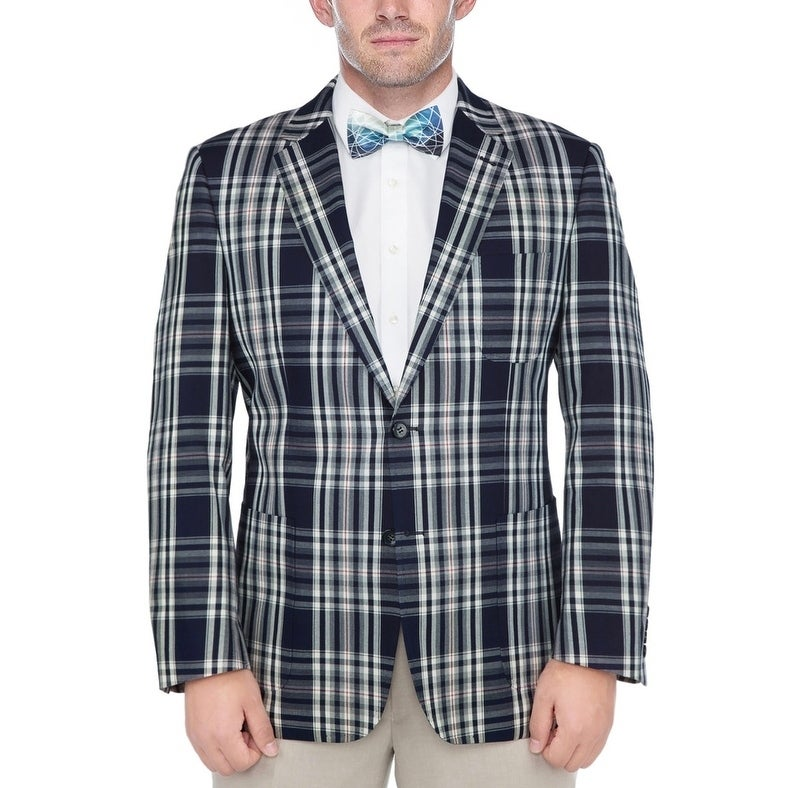 Verno Men's Navy Blue and White Madras Plaid 100-percent ...
