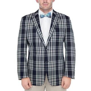 Verno Men's Navy Blue and White Madras Plaid 100-percent Cotton Classic Sports Coat
