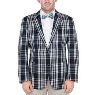 Verno Men's Navy Blue and White Madras Plaid 100-percent Cotton Classic Sports Coat|https://ak1.ostkcdn.com/images/products/13536266/P20216229.jpg?impolicy=medium