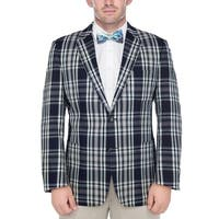 Verno Men's Navy and White Madras Plaid Cotton Classic Sports Coat