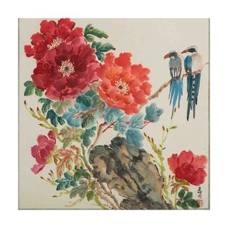 Mountain Jays and Peonies Canvas by Jamaliah Morais