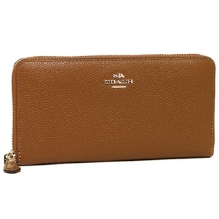 Coach Brown Leather Accordian Pebble Zip Wallet