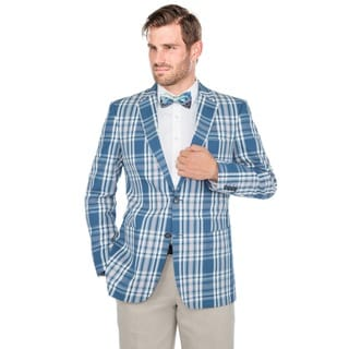 Verno Men's Blue and White Madras Plaid Cotton Classic Sports Coat