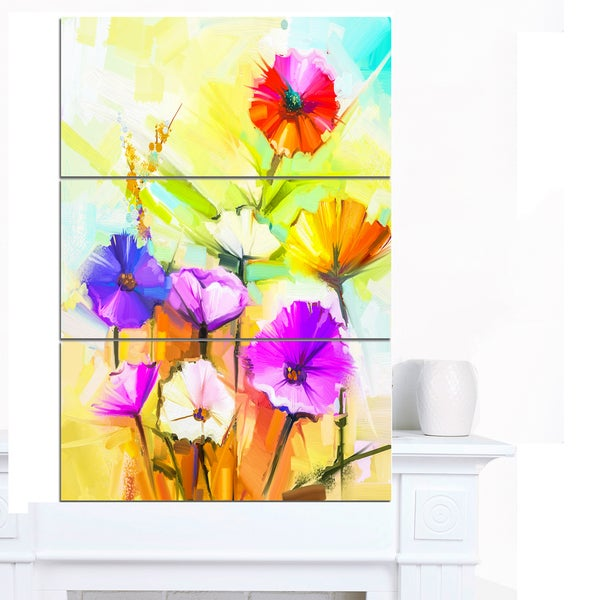 Designart 'Colorful Gerbera Flowers Painting' Large Floral Canvas Artwork - multi