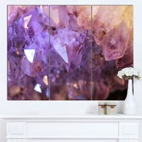 Designart 'Purple White Natural Amethyst Geode' Large Abstract Canvas Artwork - Purple