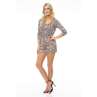 Sara Boo Women's Retro Polyester/Spandex 3/4-sleeve Romper