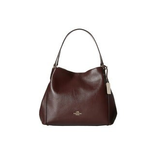 Coach Edie Oxblood Refined Pebbled Leather Shoulder Handbag