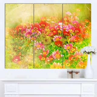 Designart 'Colorful Spring Garden with Flowers' Large Floral Canvas Artwork