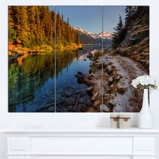 Designart 'Placid Lake between Mountains' Landscape Artwork Canvas Print