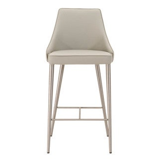 Modern Life Ira Light Grey Faux Leather And Stainless Steel Barstool