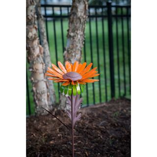 Daisy Orange Steel Garden Torch