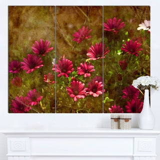 Designart 'Spring Garden with Little Red Flowers' Large Floral Canvas Artwork