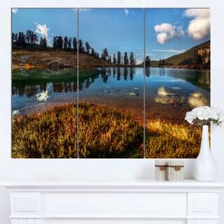 Designart 'Calm Mountain Lake and Clear Sky' Landscape Artwork Canvas Print