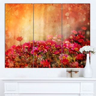 Designart 'Spring Little Flowers at Sunset' Large Floral Canvas Artwork