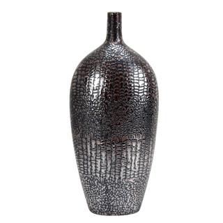 Jeco Black Ceramic Crocodile-patterned Vase