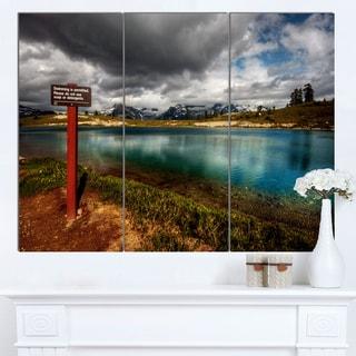 Designart 'Azure Mountain Lake with Clouds' Landscape Artwork Canvas Print
