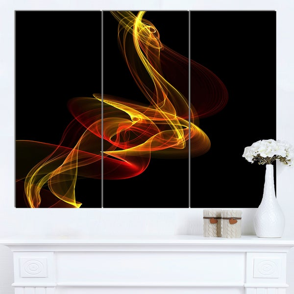 Designart 'Red Yellow Twisted Waves Fractal' Large Abstract Canvas Wall Art